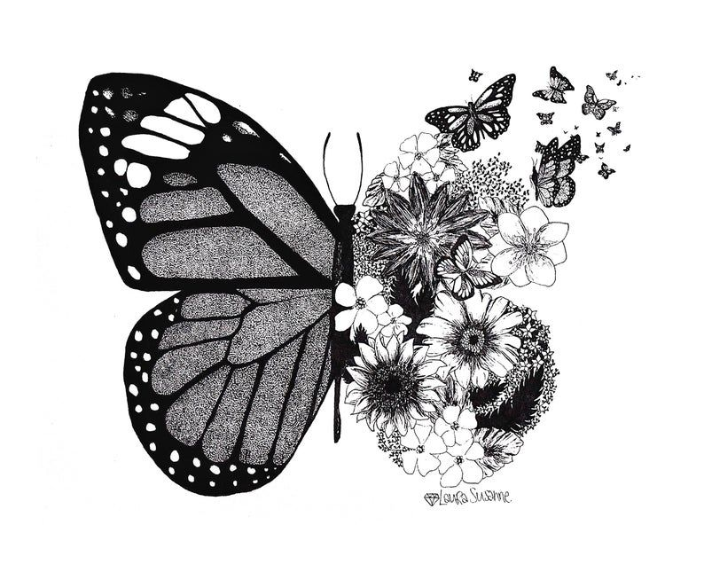 Floral Butterfly Art Print | Etsy