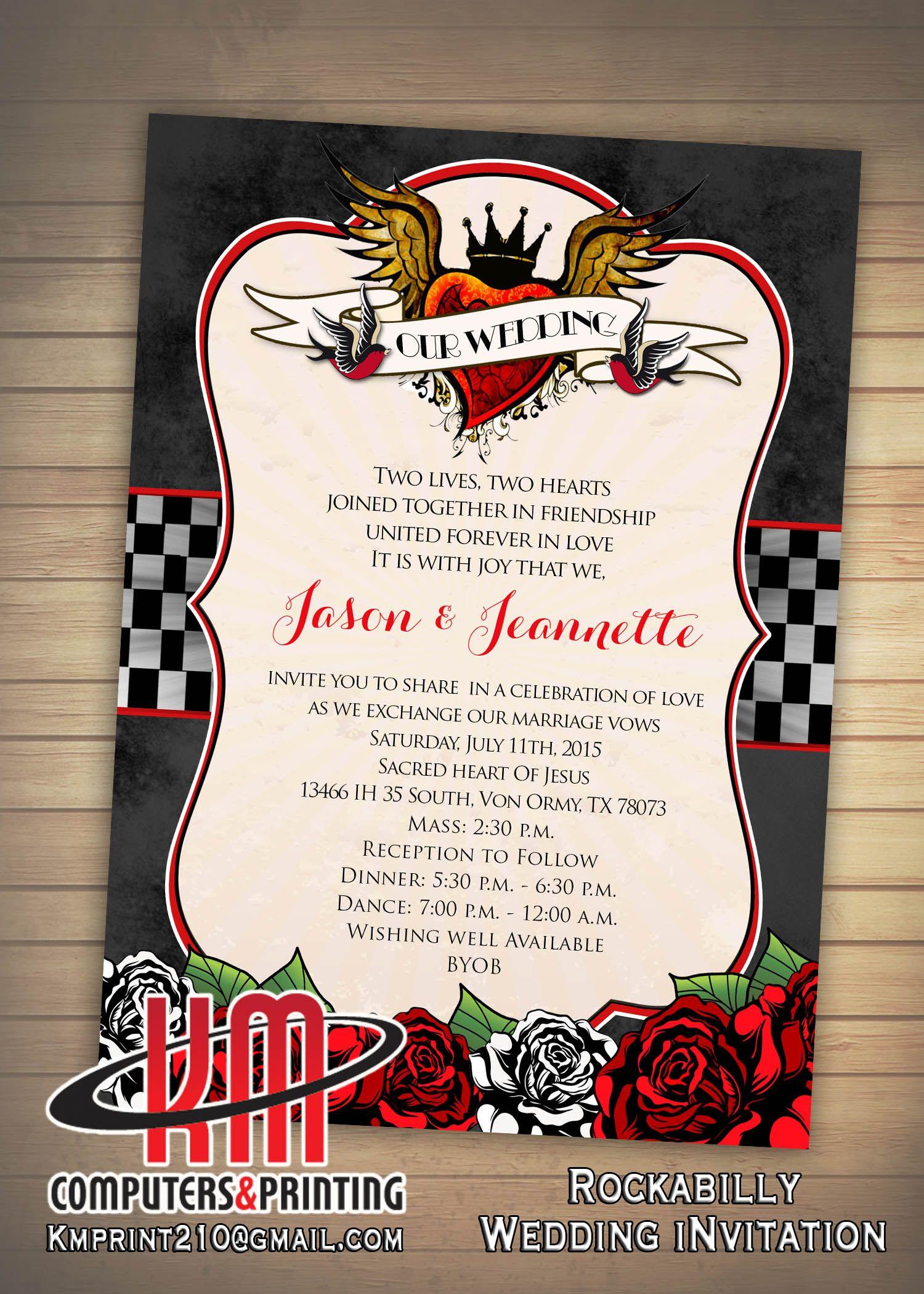 Rockabilly Invitation Wedding Sweet Birthday Digital