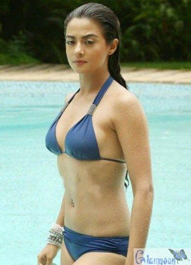 Surveen Chawla Spicy Blue Wet Bikini Pics