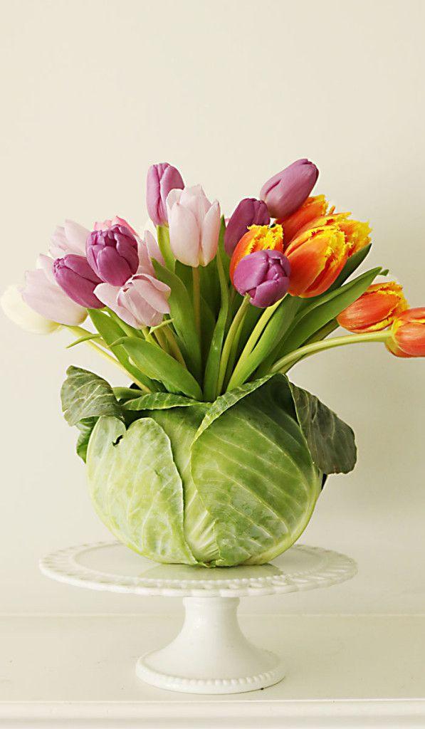 DIY Tulip Cabbage Flower Arrangement for Easter