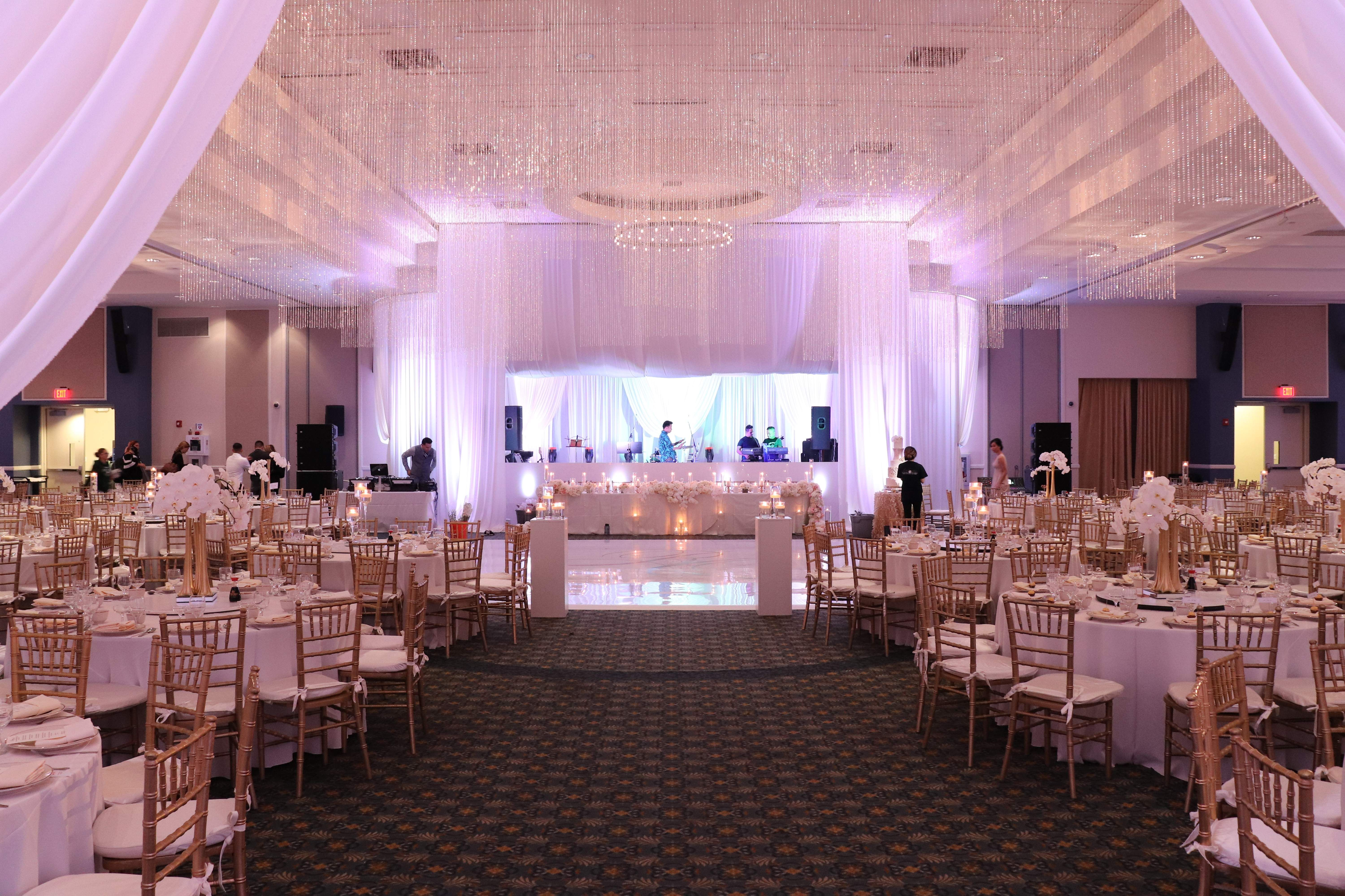 Elegant Crystal Ceiling Decor With Backdrop For The Head Table Event Decor Decorating Services Wedding Decorations