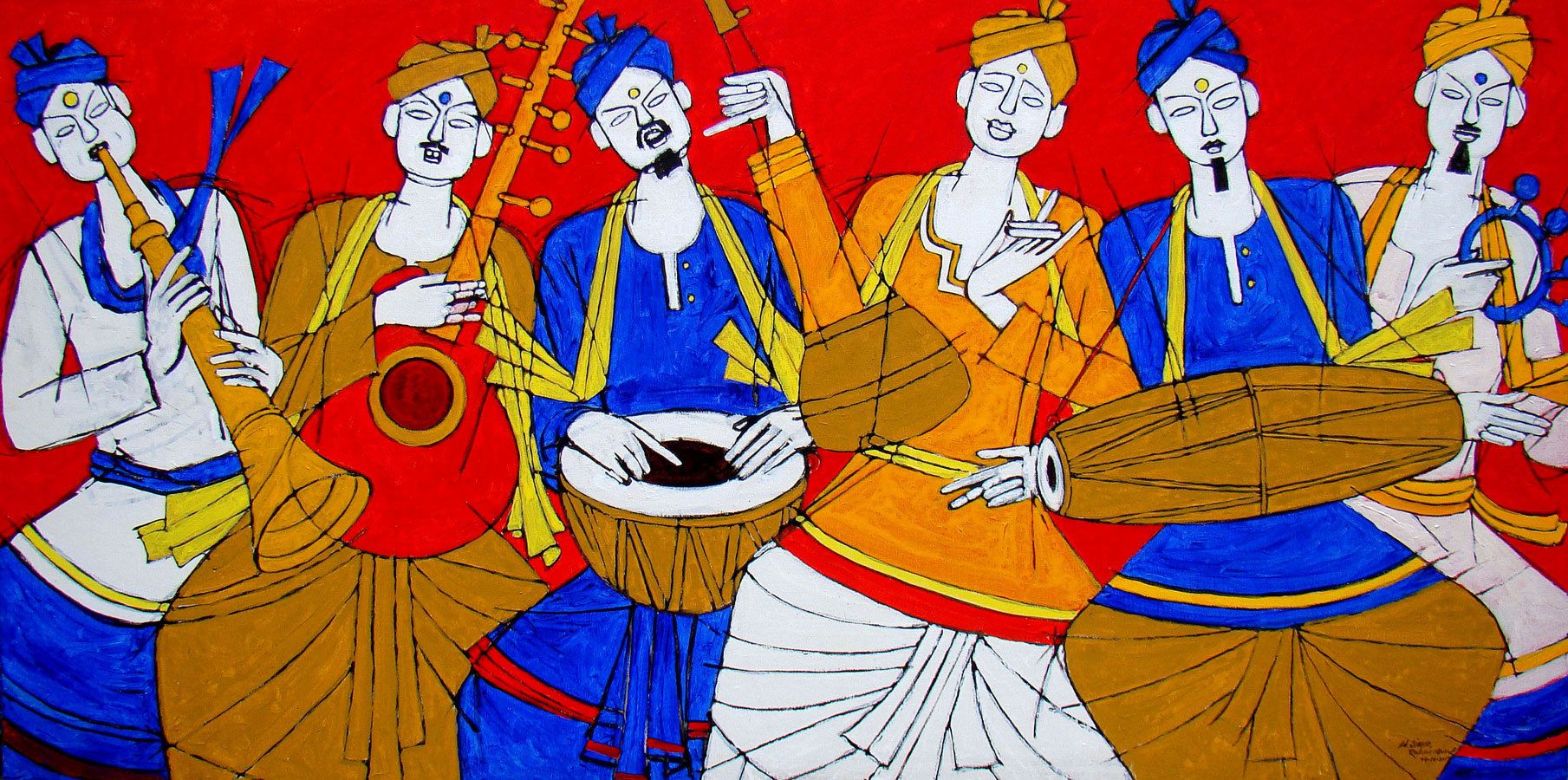 Folk Singer by Jiaur Rahman no: 59868   Colorful Art 多彩藝術 ... for Abstract Painting Of Indian Dancers  113cpg