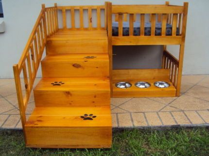 Dog Bunk Beds With Stairs | New Deluxe Hand Crafted Wooden Dog Bunk Bed /Kennel