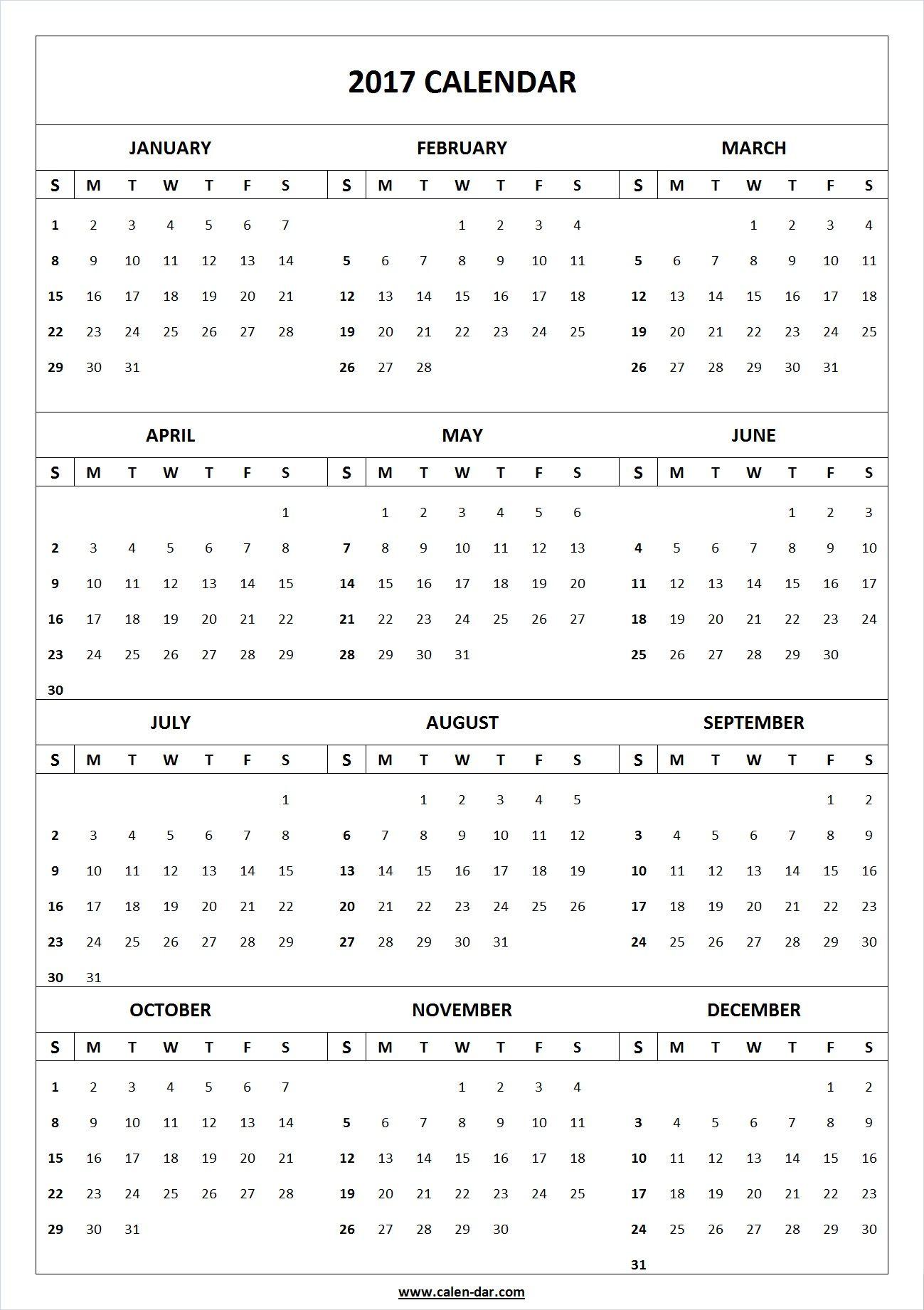 Year Printable Calendar Blank Template