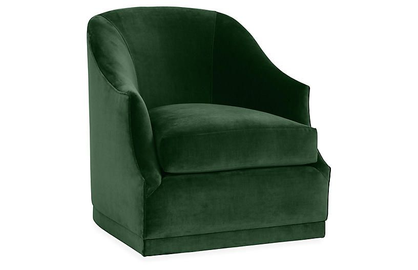 Best Brooke Swivel Club Chair Emerald Velvet With Images 640 x 480