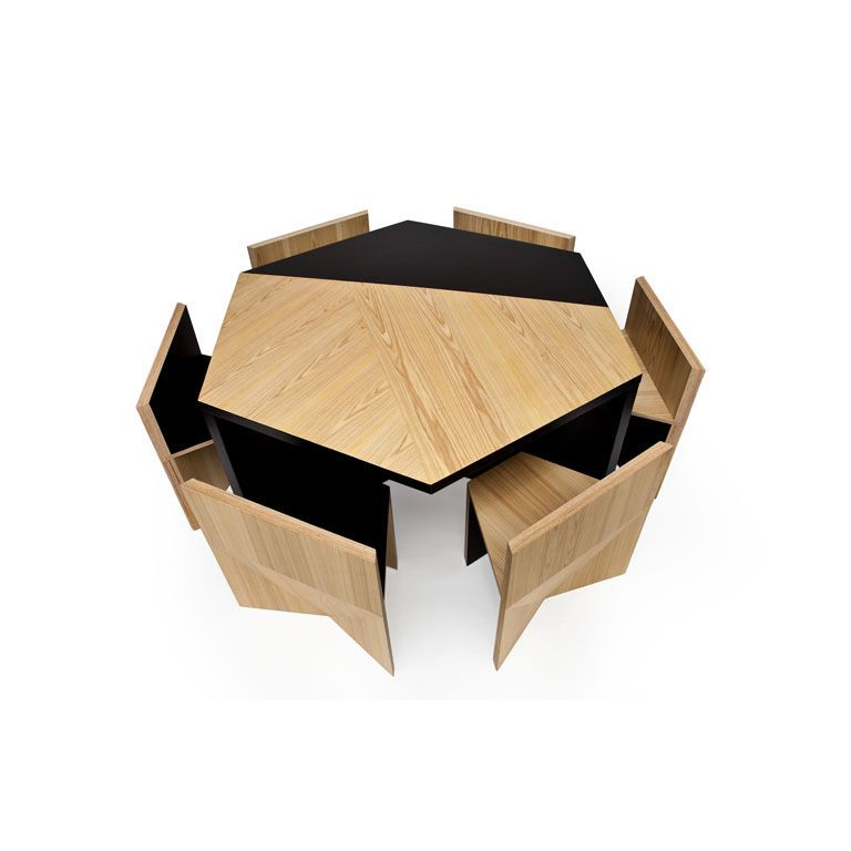 Hexagonal Table with Nesting Chairs by Rafael de Cardenas Nest