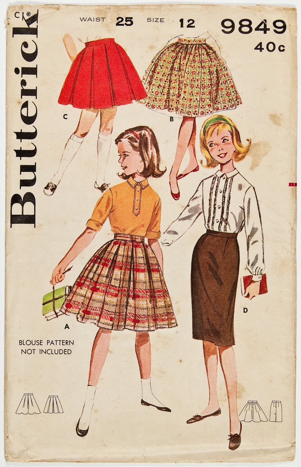 View D...  Vintage 1960s Girls Skirt WardrobeButterick by melodycoleman