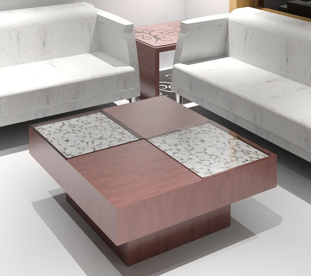 Side Table With Pebbles