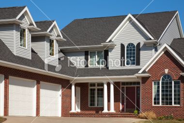 Lovely Home Red Brick And Vinyl Siding Attached Garage Dormers