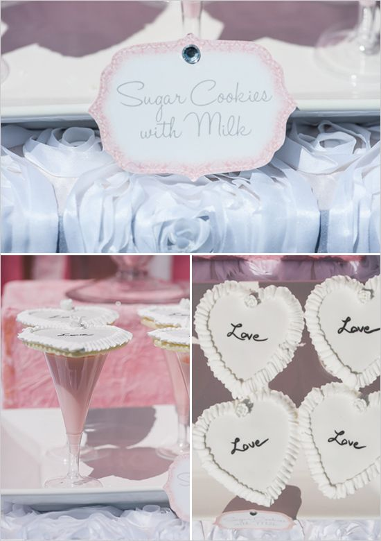 pink milk and sugar cookies for pink dessert table. See the entire dessert table and more party ideas http://www.weddingchicks.com/2013/08/27/sexy-bachelorette-party-ideas/