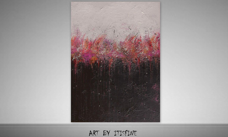 Pink black paintinglarge wall decorwall artwall hanginghome