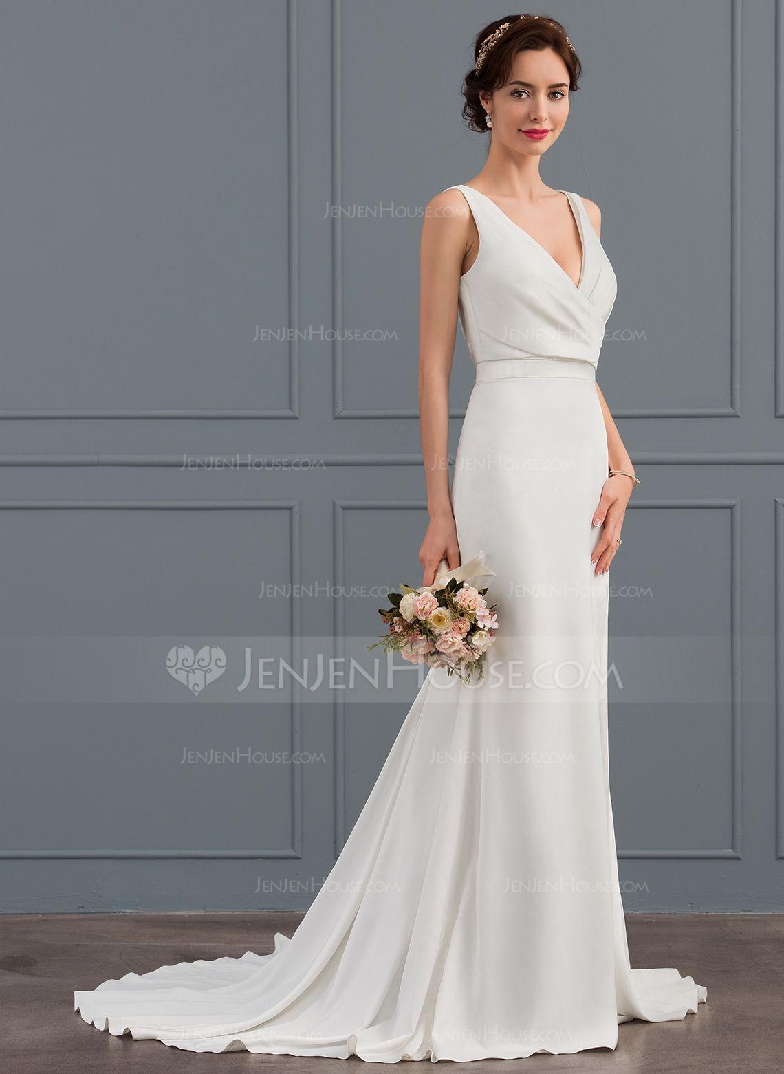 80d0627ff39a Trumpet/Mermaid V-neck Court Train Stretch Crepe Wedding Dress With Ruffle  Split Front (002127275) - JenJenHouse