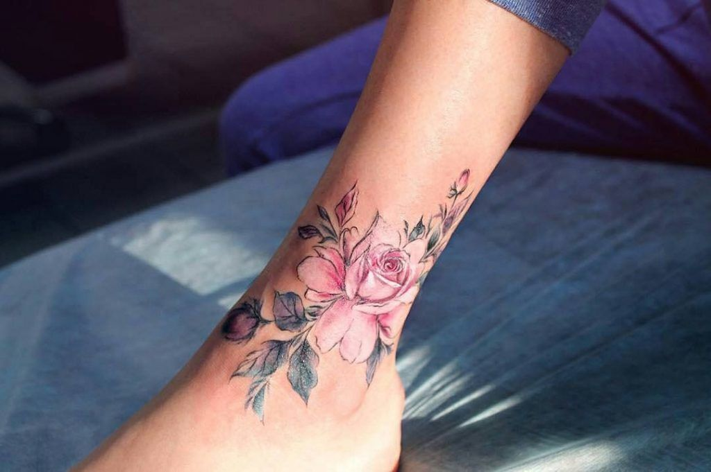 Pink Rose Tattoo On The Ankle Pink Rose Tattoo Inked On The Left Ankle Pink Rose Tattoos Ankle Tattoo Designs Tattoos