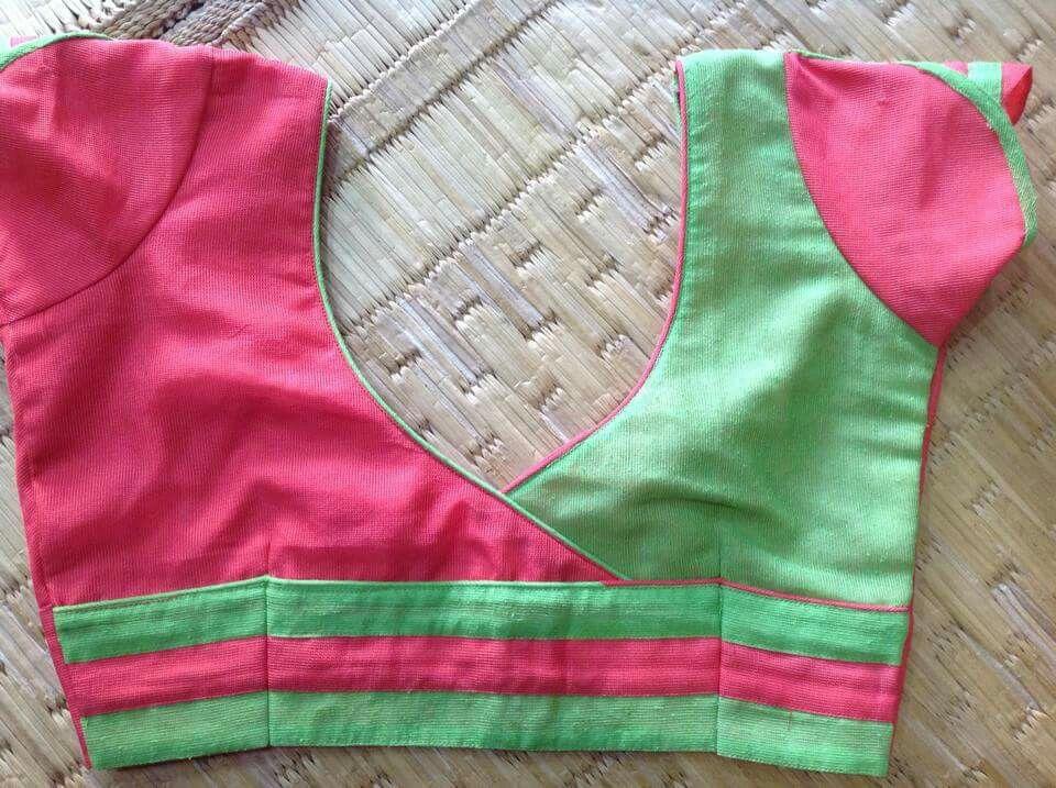 Two Colour Blouse Simple Blouse Blouse Blouse Designs Saree Blouse