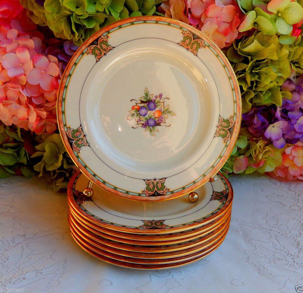 8 Beautiful Vintage Lenox Porcelain Salad Plates Tuscan Orchard Scrolls Gold #Lenox