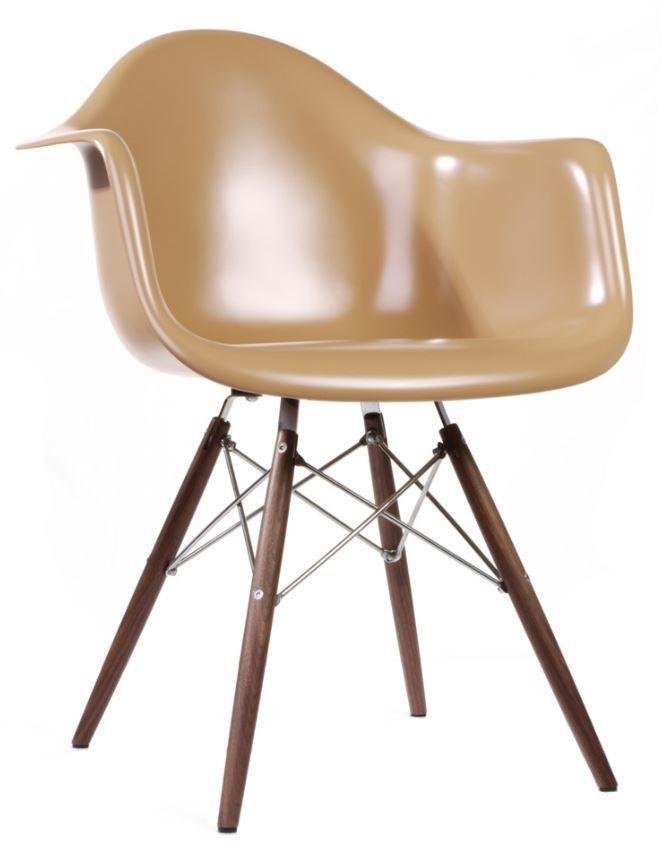 Replica Eames DAW Armchair Fibreglass Brown/Walnut