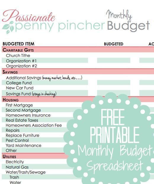 Free Printable Budget Spreadsheet Printable budget, Free printable - free excel budget spreadsheets