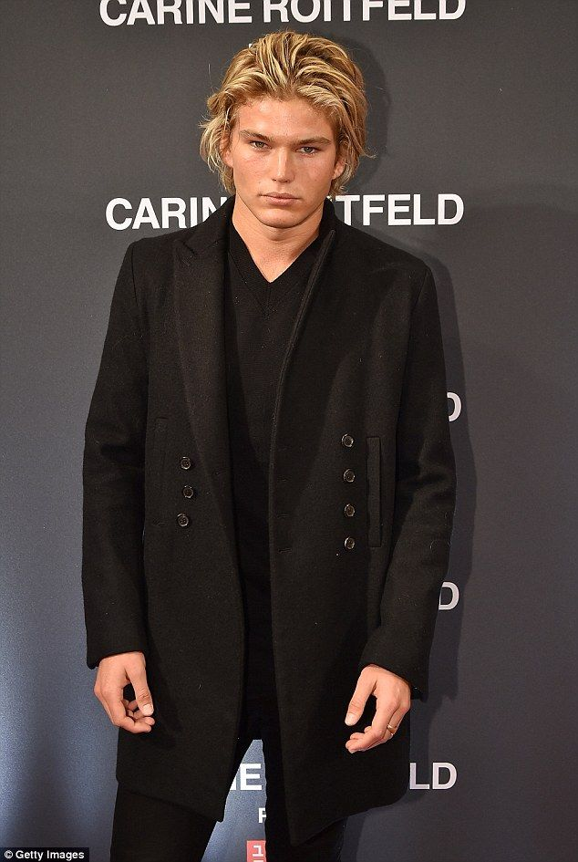 becdec04 Suave: Jordan Barrett, 19, attended former editor-in-chief of Vogue Paris,  Carine Roitfeld's collection launch in New York on Wednesday