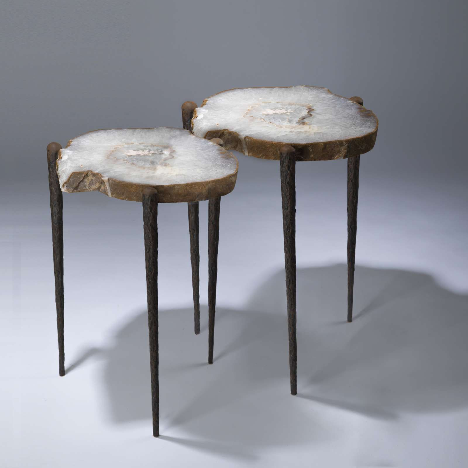 Pair Of Agate Slices On Tapered Giacometti Inspired Three Leg Table