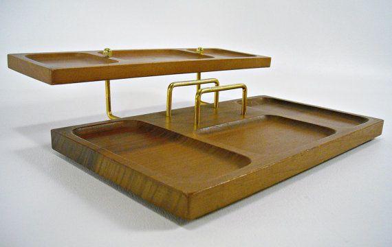 Mid Century Desk Organizer Mahogany Eames Mad Men Office 32 00 Via Etsy Desk Organization Mid Century Desk Vintage Desk