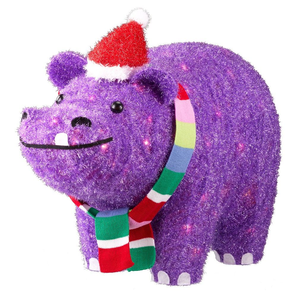 Christmas Outdoor Decorations Target: 21.75 Tinsel Glitter Lit Purple Hippo In Santa Hat