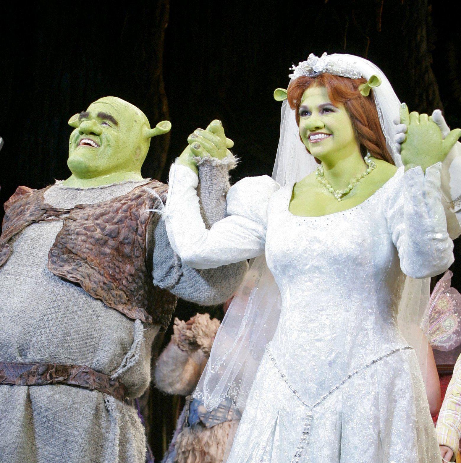 Brian D Arcy James And Sutton Foster As The Ogres Shrek Wedding Fantasy Wedding Wedding