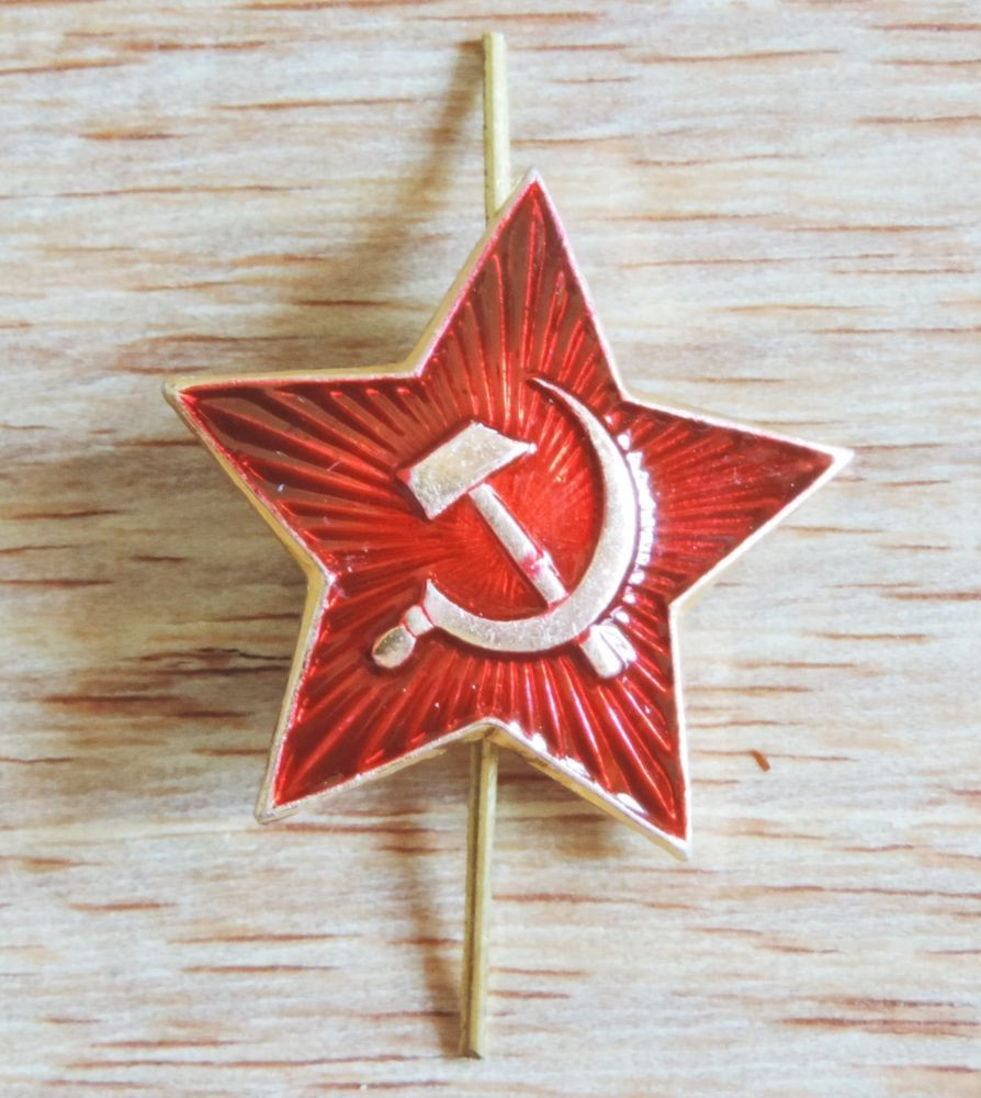 bcb950bc47f COCKADE SOVIET RUSSIAN ARMY HAT PIN BIG RED STAR BADGE CAP KOKARDA USSR NEW