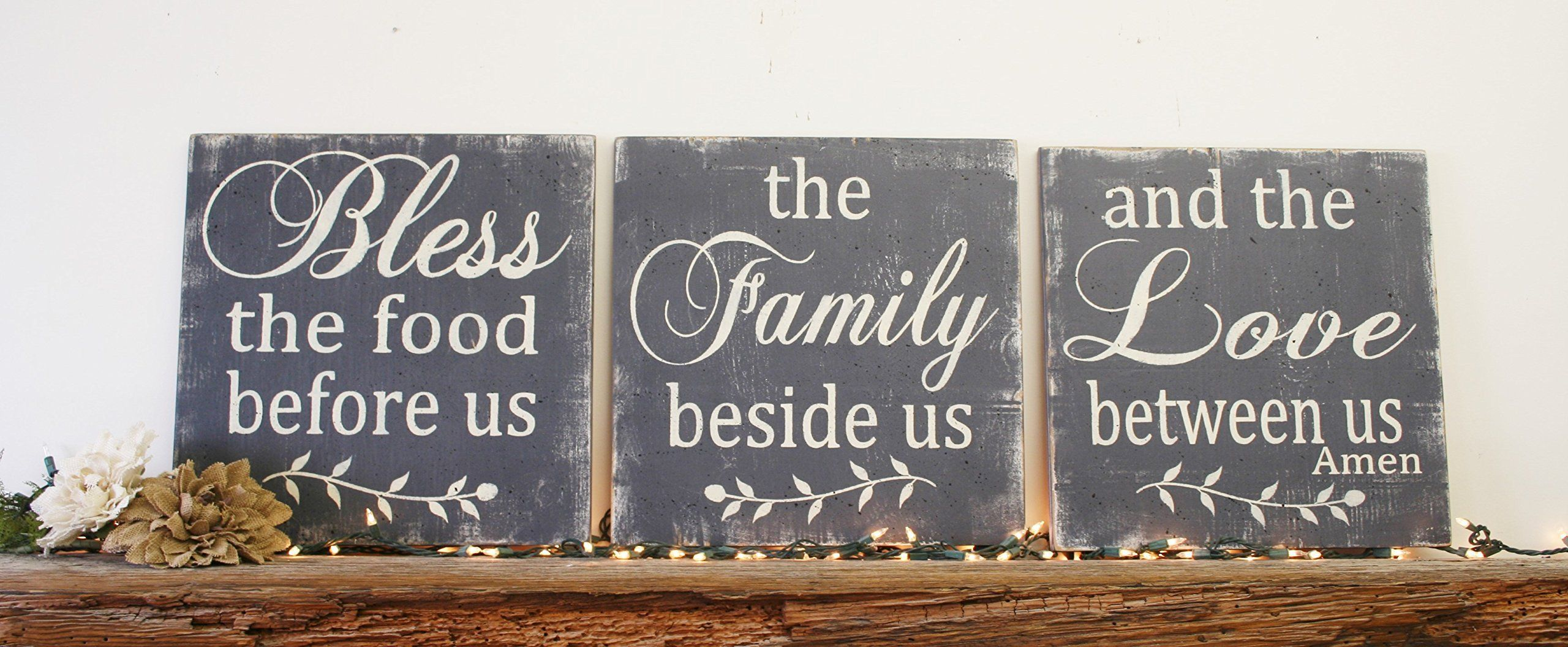 Bless The Food Before Us Wood Wallhanging Wood Kitchen Sign Wood Dining  Room Sign Distressed Wood