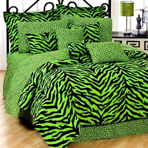 Lime Green Zebra 8 Pc Full Comforter Set And Set Of (Two