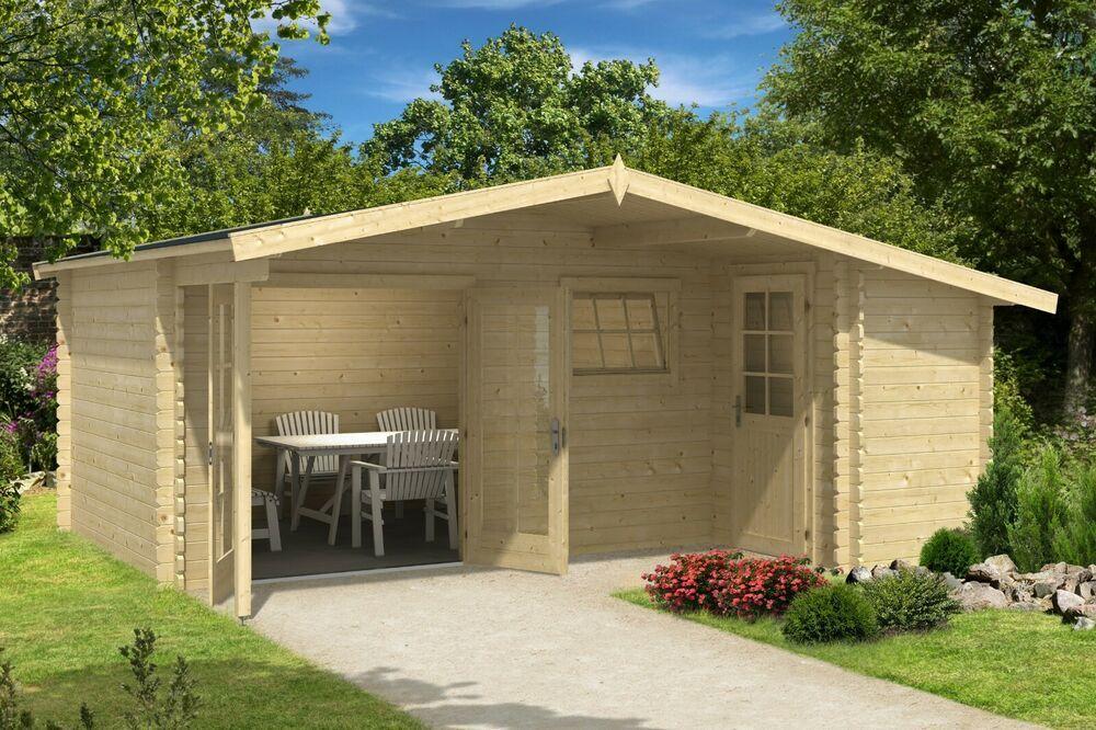 eBay Sponsored 34 mm Gartenhaus mit Anbau 530x450 cm