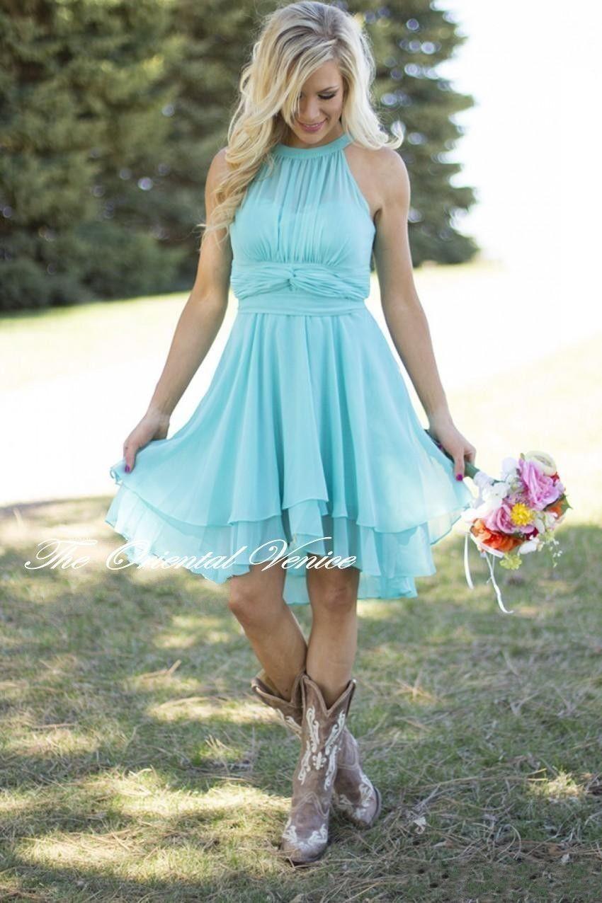 Light Sky Blue Hi-Lo Country Bridesmaid Dresses Short Beach Party ...