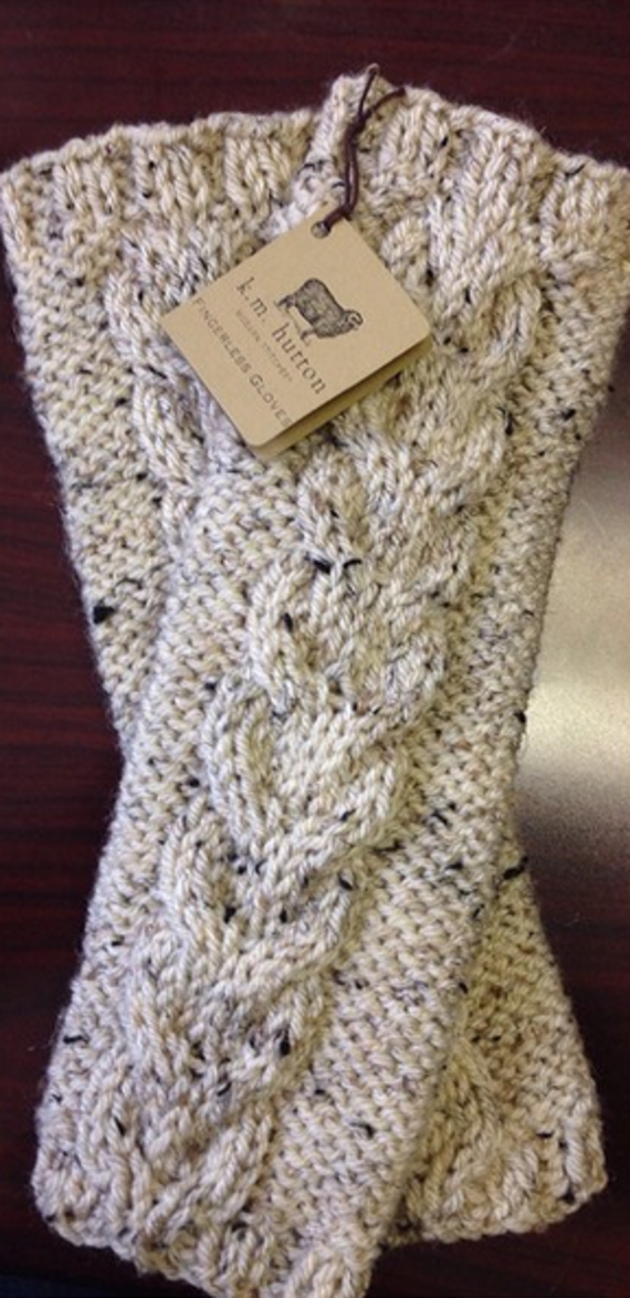 Hand-knitted fingerless gloves in a cozy oatmeal color. I did my ...