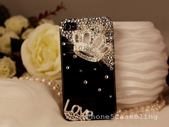 iPhone 4 Case, iPhone 4s Case, iPhone 5 Case, iphone 5 bling case, Bling iphone 4 case, iphone 4 case bling crown with love, cover iphone 5 by iPhone5CaseBling, $16.98