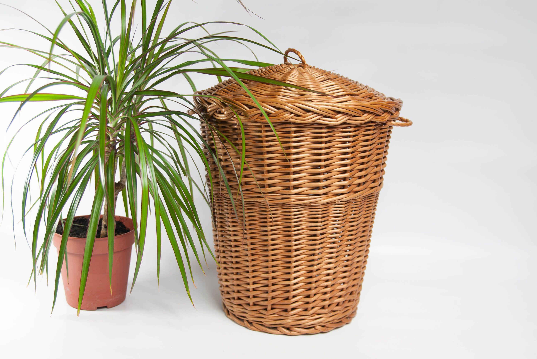 Vintage Wicker Waste Paper Basket Bathroom Trash Can Garbage Bin