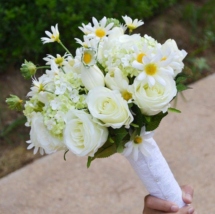 INDIGO White Rose Daisy Bride Banquet Flower Real Touch