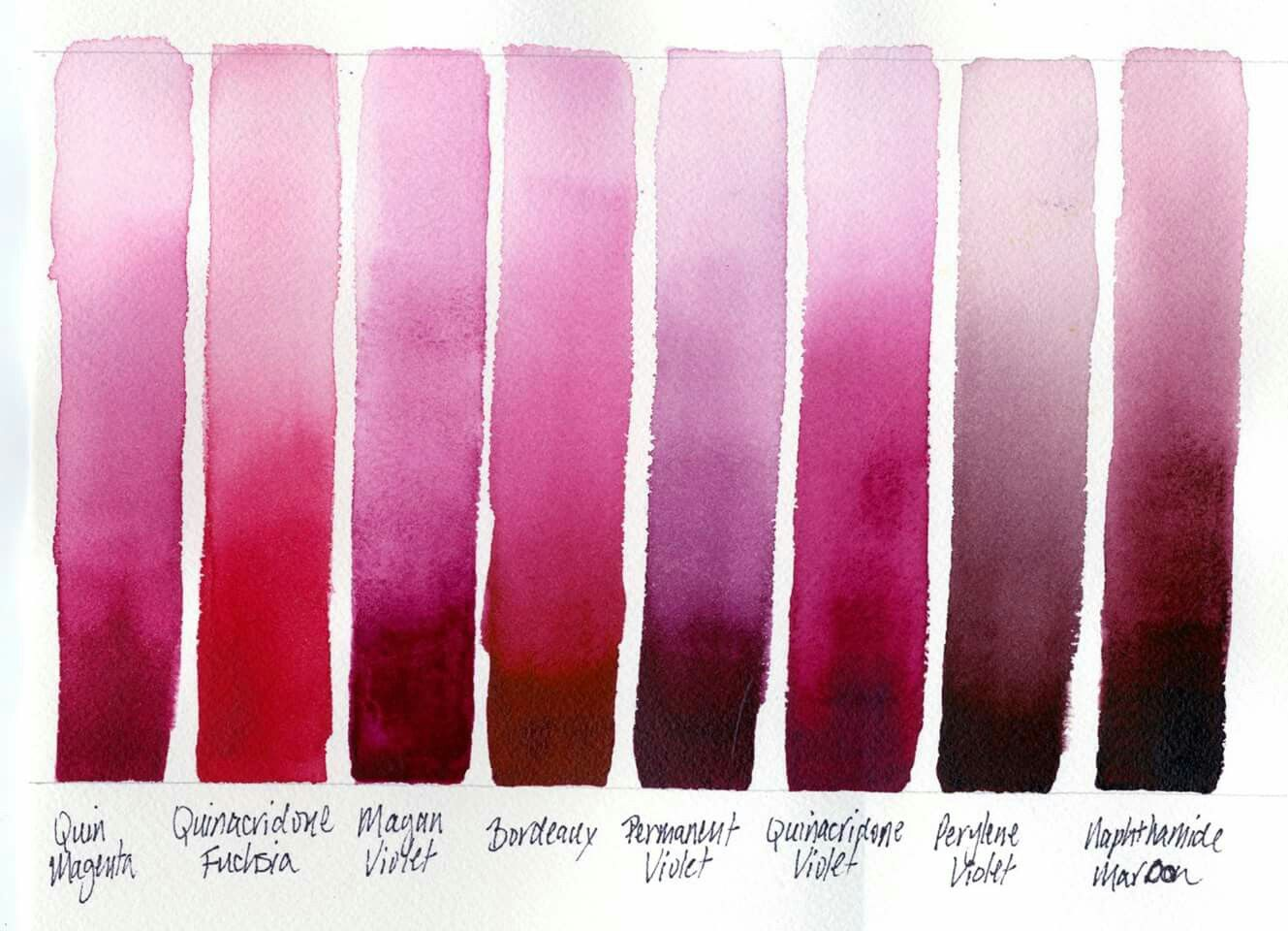 Watercolor Pinky Red Swatches With Images Watercolor Mixing