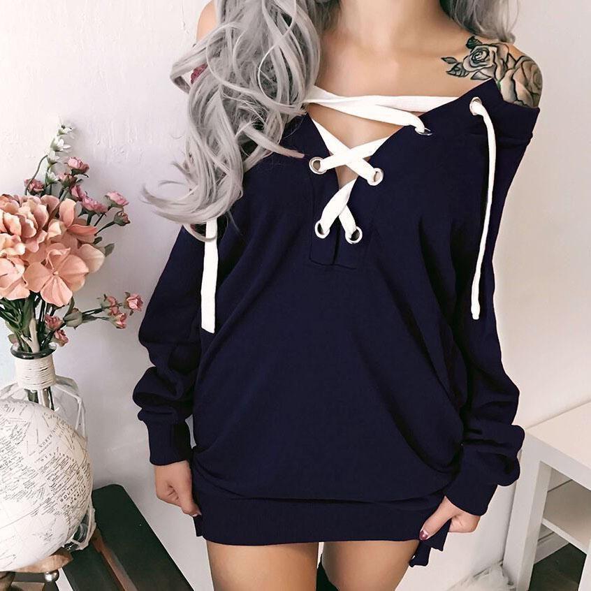 35829a6db3b5e Straps Pure Color Long Sleeves V-neck Short Dress