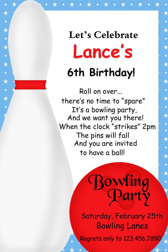Great bowling invite ) Love the wording Party party party