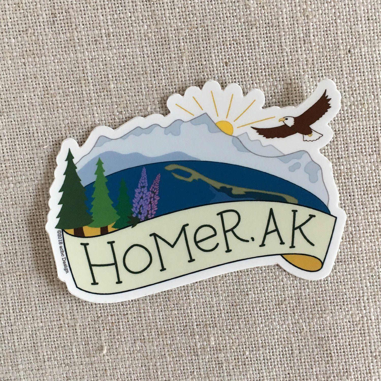 Homer Alaska Vinyl Sticker In 2021 Homer Alaska Travel Stickers Homer [ 1500 x 1500 Pixel ]