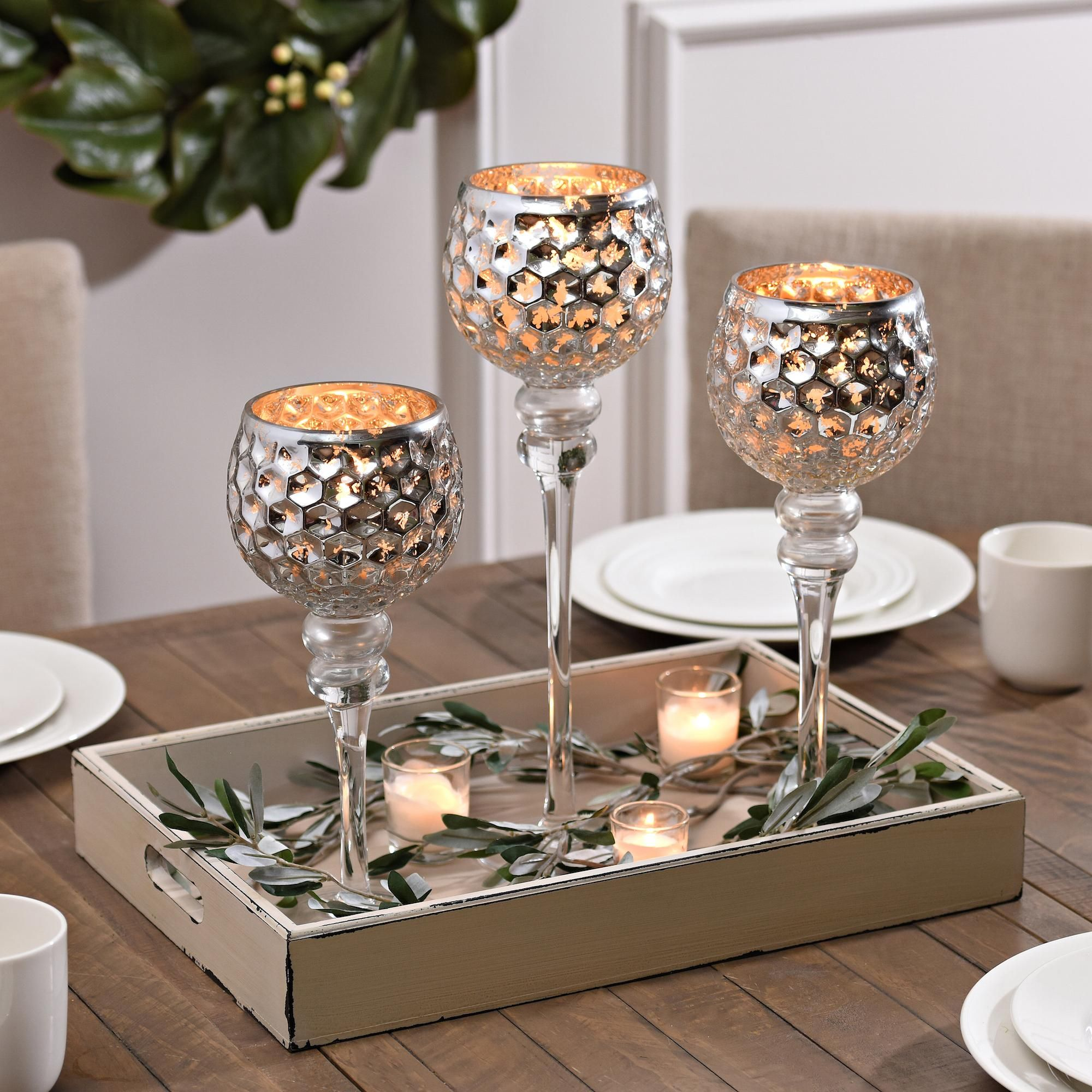 Dining table candle centerpieces - Kirkland S Set Of Silver Honeycomb Charisma Candle Holders Are Beautiful As Centerpieces Decorate Your Dining