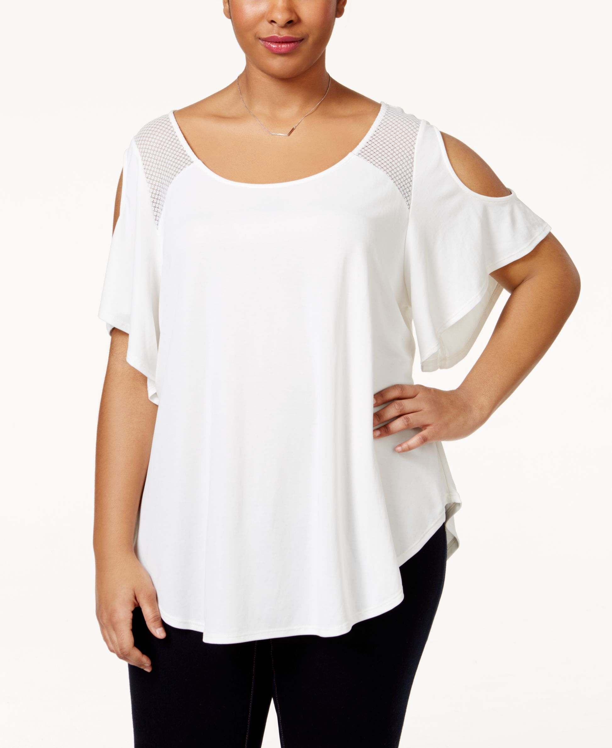 89e74dcbb3a Jessica Simpson Plus Size Mesh-Trim Cold-Shoulder Top