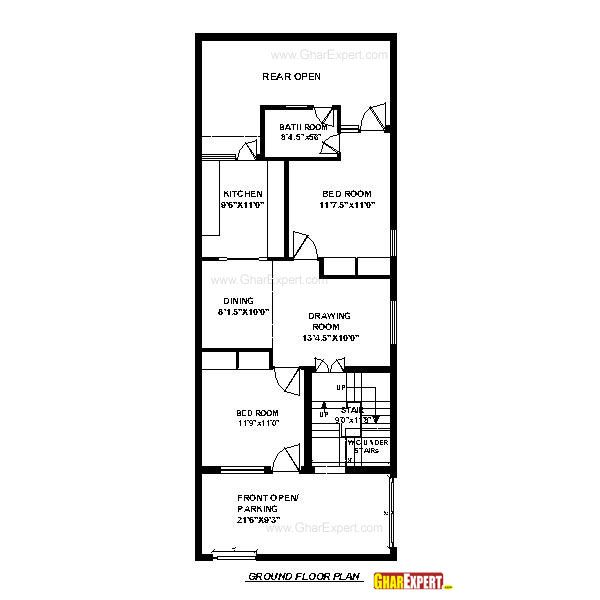 House Plan for 20 Feet by 50 Feet plot (Plot Size 111 Square Yards