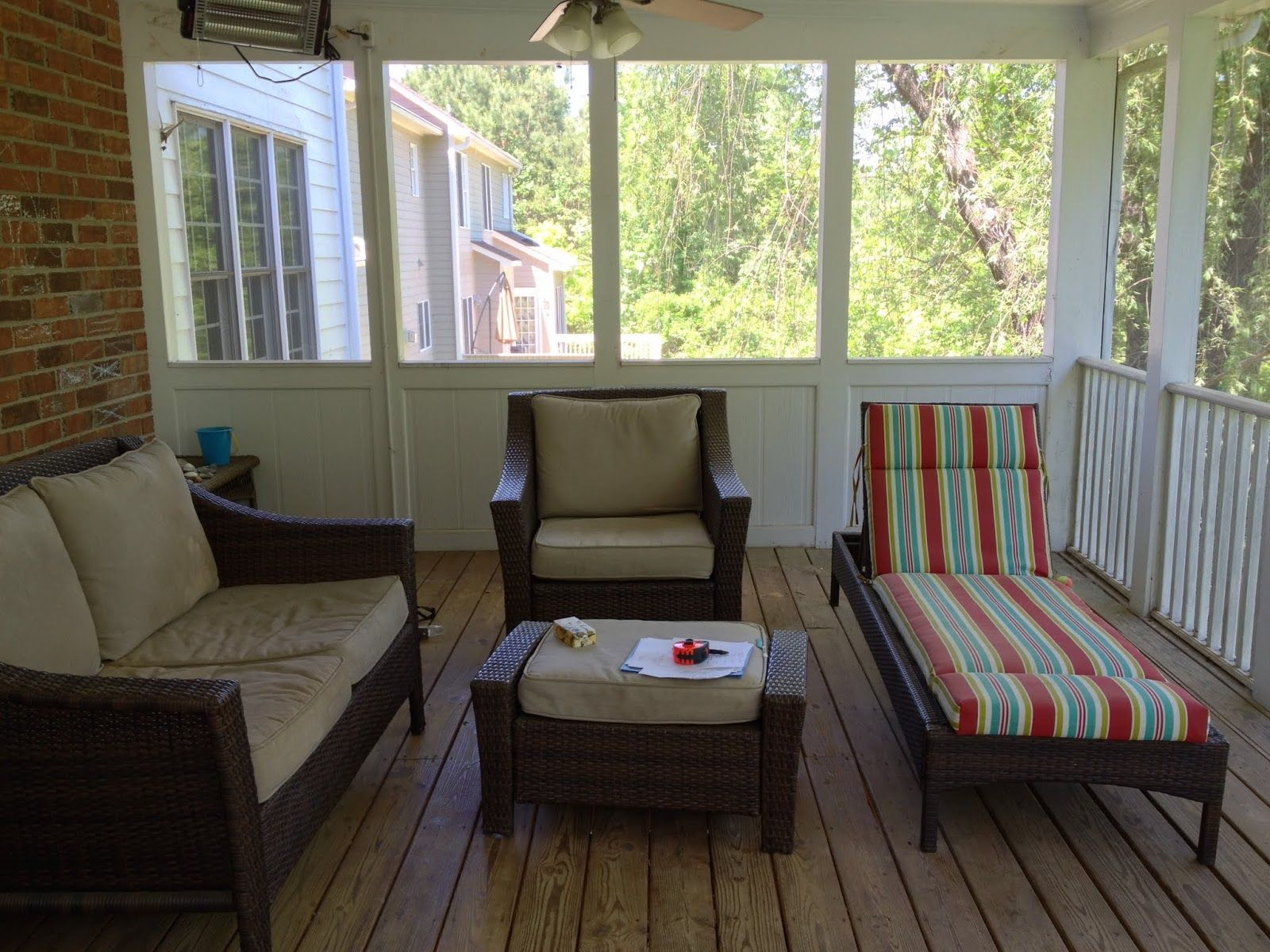 Before after screened porch makeover cottage and vine for Breezeway screen room