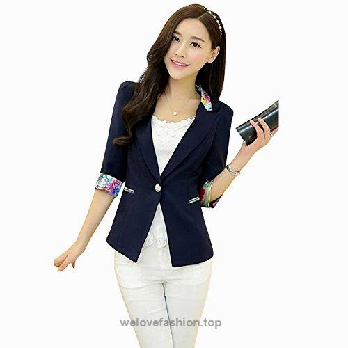 Aro Lora Women's 1/2 Long Sleeve Slim Fitted Floral Print Casual Suit Jacket Blazer US 6-8 Navy  BUY NOW     $32.99    This floral print blazer is slim fitted and it can wear both in formal and casual occasion. It can wear to work or wear to party.   Size Chart:  Size:(cm/inches)  Sma ..