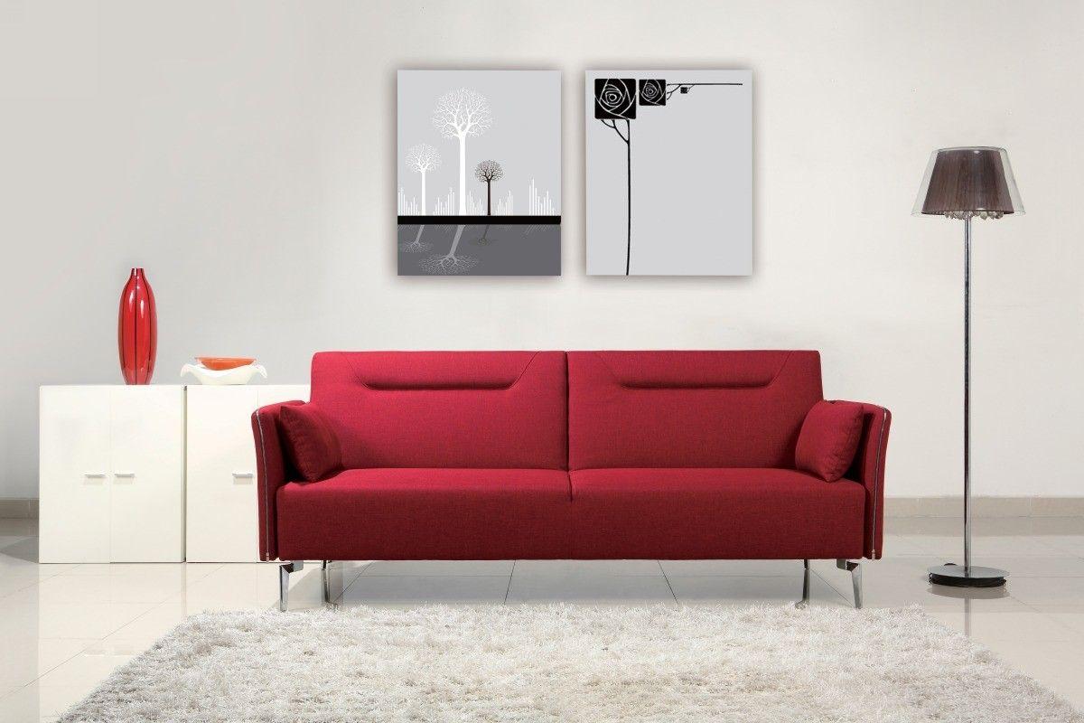 Best Davenport Mid Century Red Fabric Single Sofa Bed Modern 400 x 300