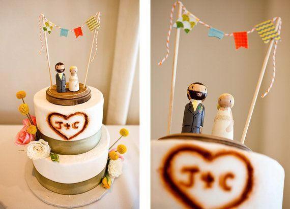 Custom Handcrafted Rustic  Wedding Cake Topper by LovebirdsGoods, $75.00