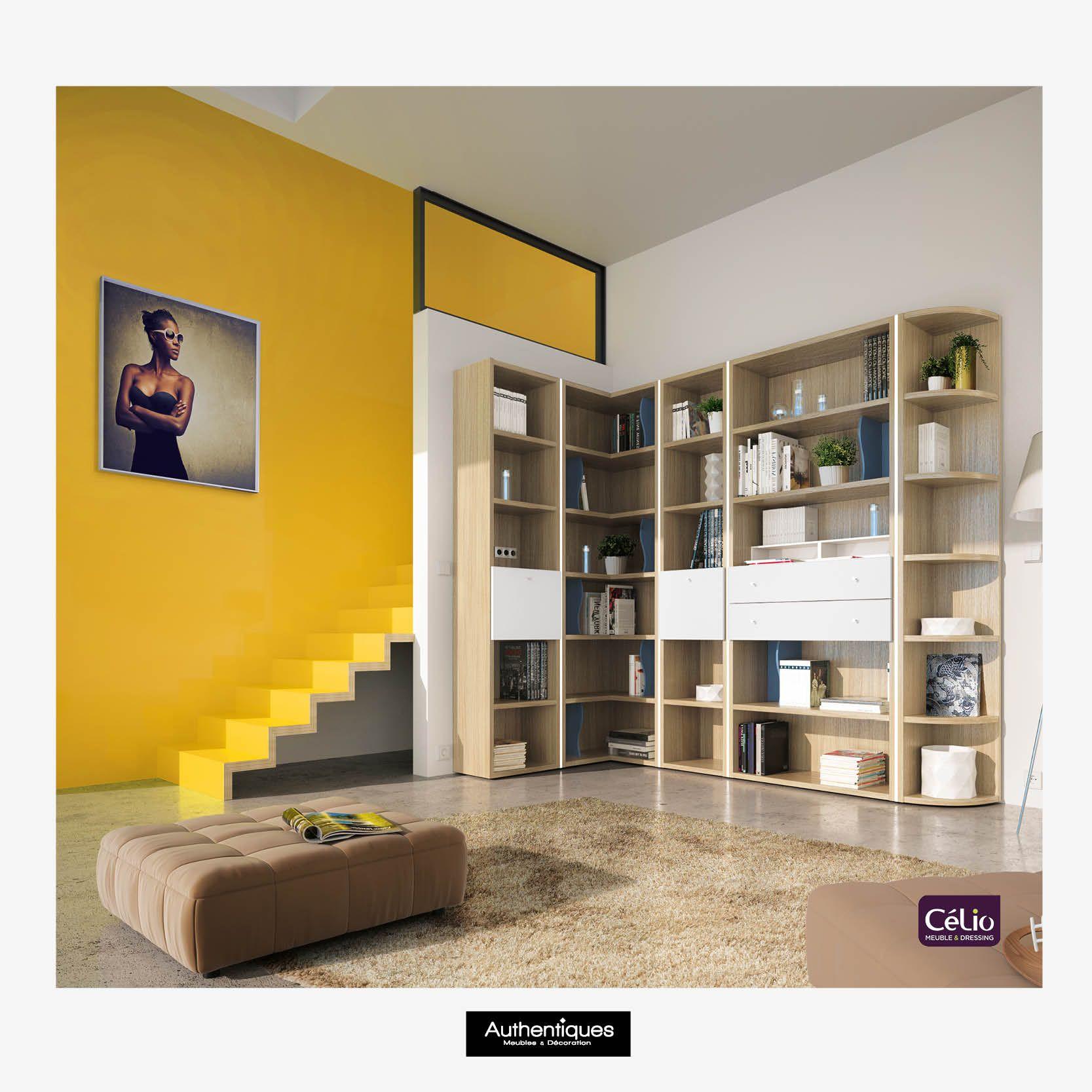 Idée couleur de mur.  La bibliothèque de chez Célio : composez et créez vous même votre bibliothèque.  #jaune #inspiration #bleu #jaune #beige #conseil #idées #couleur #peinture #meubles #déco #tendance #design #inspiration #astuce #love #bienchezsoi #AuthentiquesFrance #Authentiques