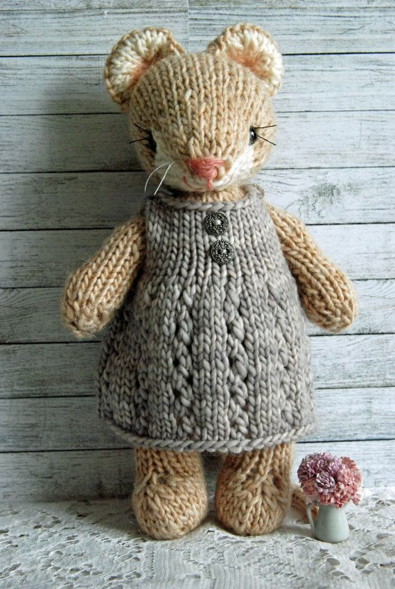 Cecily Knitted Woodland Mouse Toy in Grey Dress by AuntieShrews ...