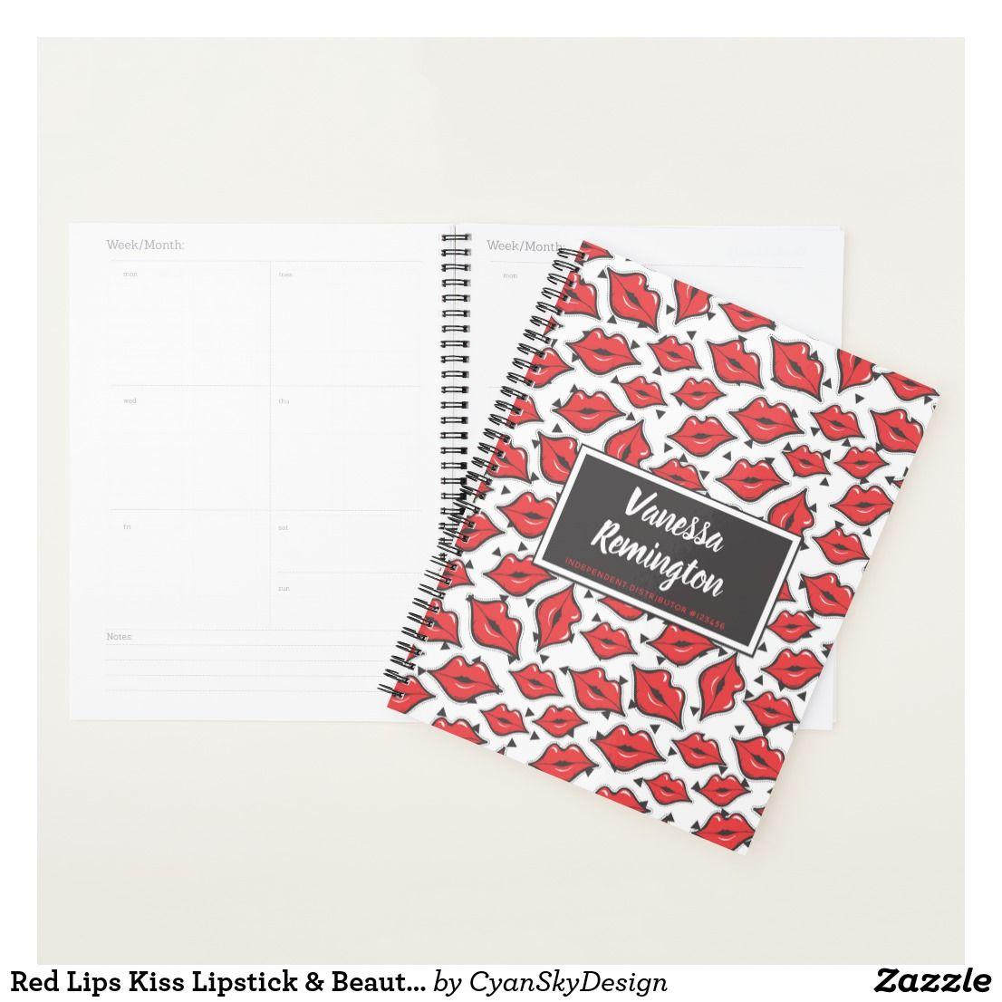 Red Lips Kiss Lipstick Beauty Distributor Custom Planner Custom