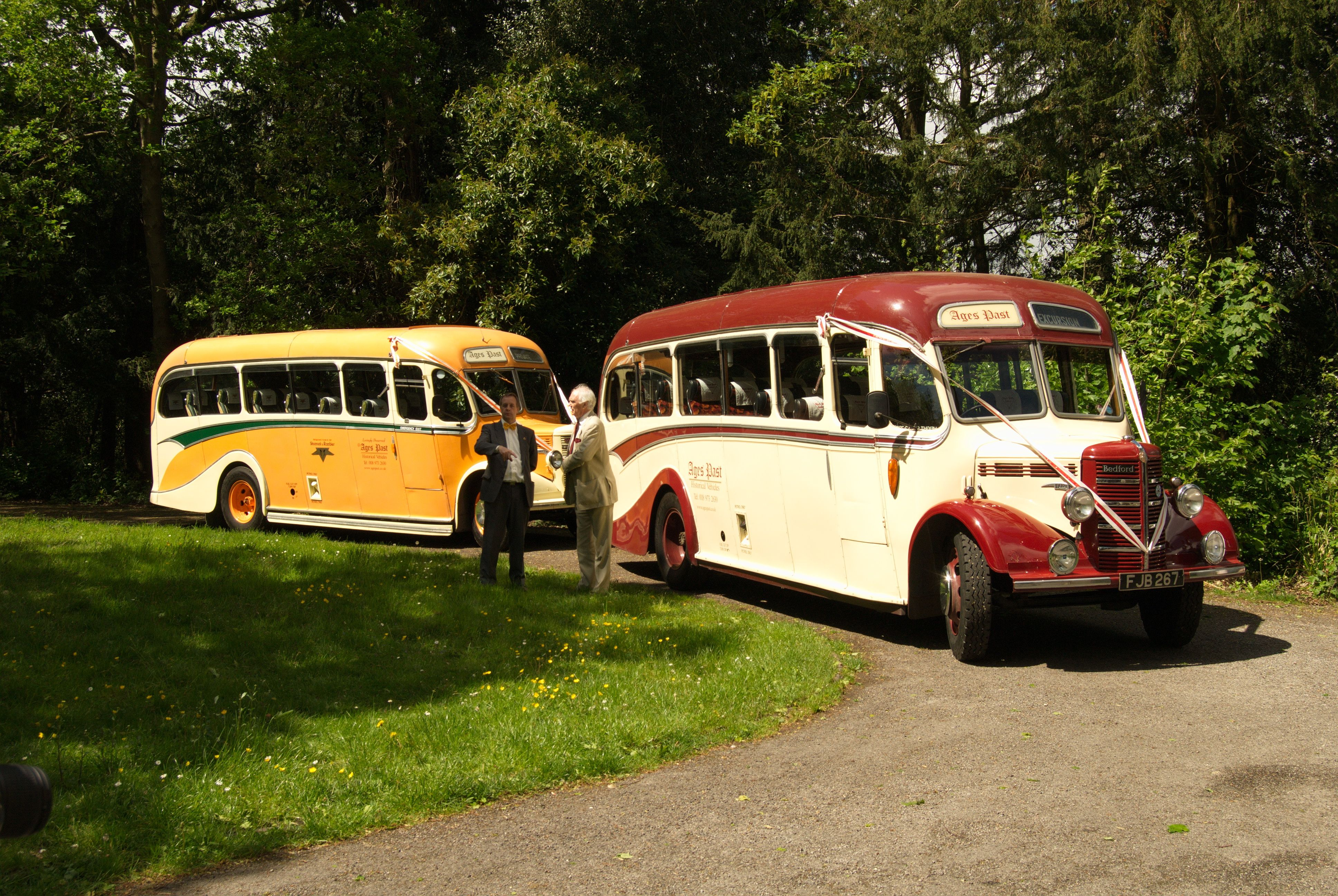 The vintage buses for the guests.  Bedford Duple buses from Ages Past.